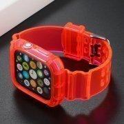 Ремешок для Apple Watch 44 mm прозрачный с кейсом (розовый) — 3